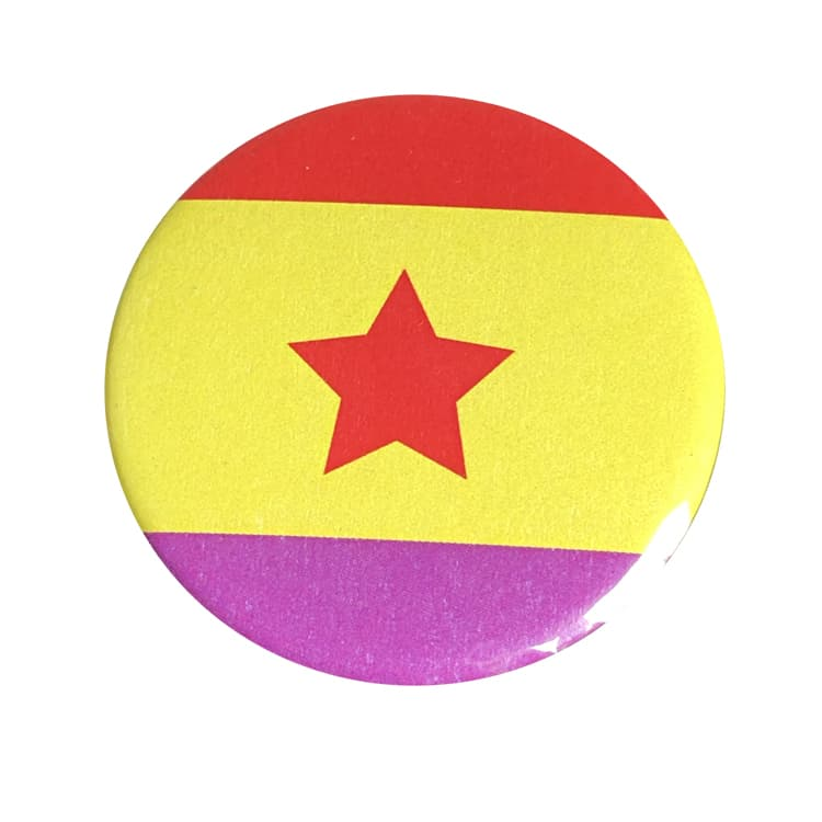 , CHAPA POLITICA – BANDERA REPUBLICA ESTRELLA ROJA