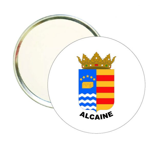 espejo redondo escudo heraldico alcaine