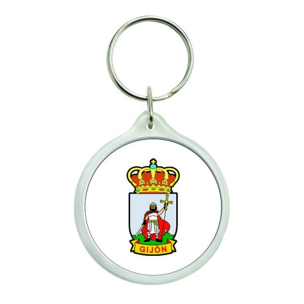 llavero redondo escudo heraldico gijon
