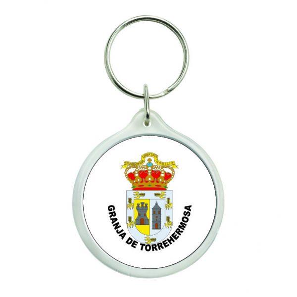 llavero redondo escudo heraldico granja de torrehermosa