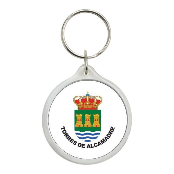 llavero redondo escudo heraldico torres de alcamadre