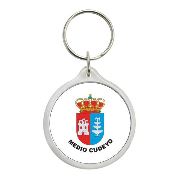 llavero redondo escudo heraldico medio cuyedo