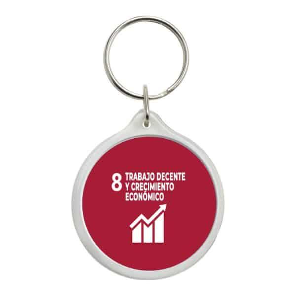 llavero redondo ods sdg desarrollo sostenible 8 trabajo decente y crecimiento economico