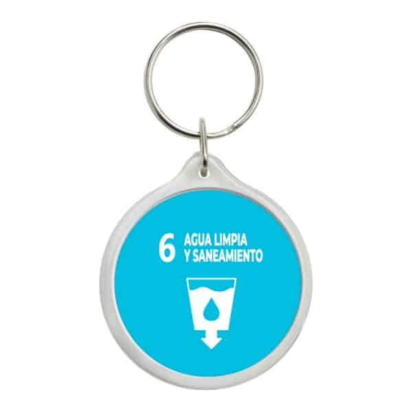 llavero redondo ods sdg desarrollo sostenible 6 agua limpia y saneamiento