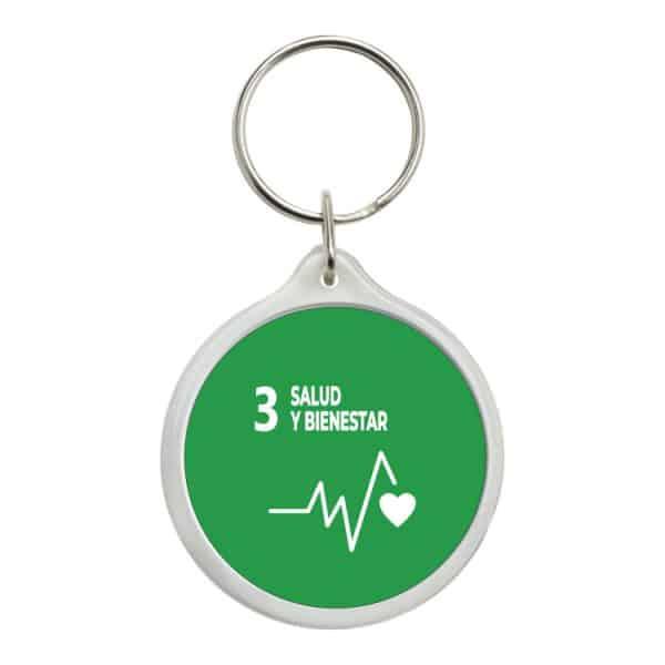llavero redondo ods sdg desarrollo sostenible 3 salud y bienestar