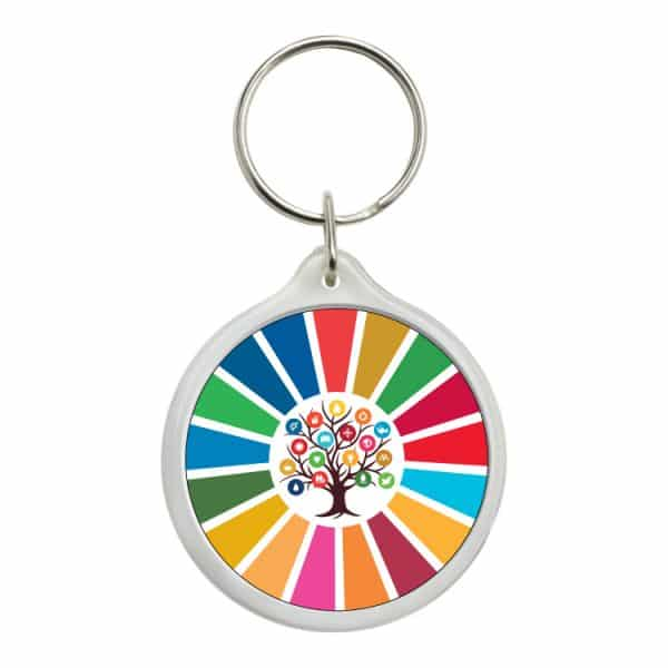 llavero redondo ods sdg desarrollo sostenible arbol 17 medidas
