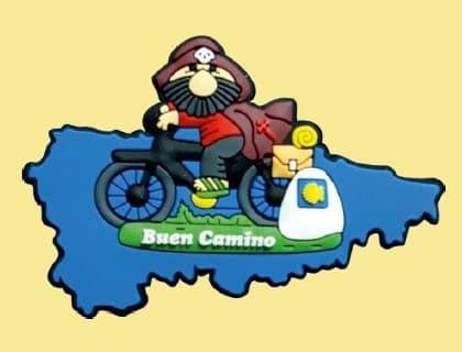 15 - iman peregrino santiago en bicicleta con mapa asturias